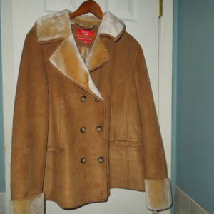 NWT ladies Oscar brown suede/ faux fur jacket XL